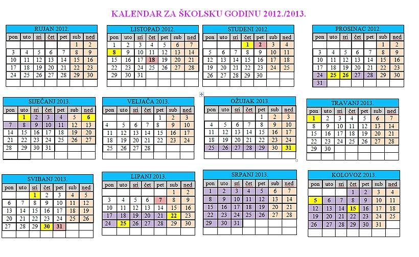 Kalendar rada za školsku godinu 2012./2013. možete vidjeti klikom na